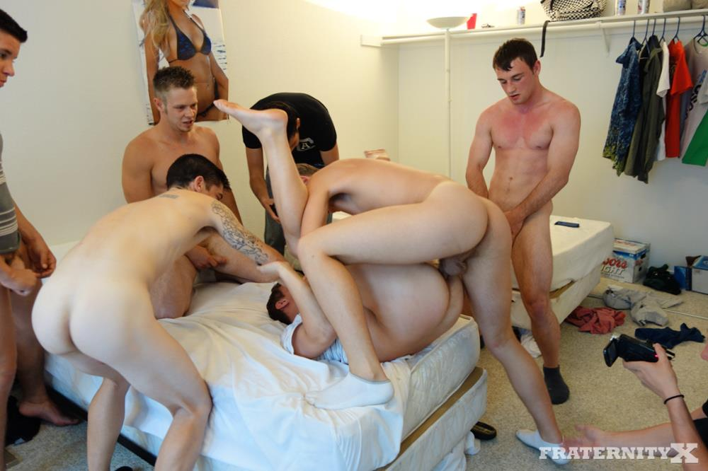 Fraternity X 5 Frat Guys Barebacking A Tight Ass Breeding BBBH Amateur Gay Porn 14 Fraternity Jock Takes Five Bareback Loads Up The Ass