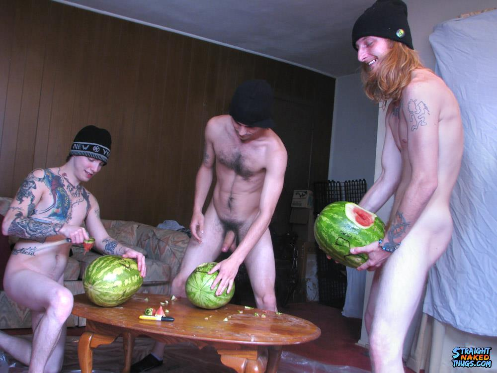 Straight Naked Thugs Devin Reynolds and Blinx and Kenneth Slayer Fucking A Watermelon Amateur Gay Porn 07