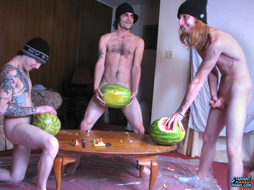 Straight Naked Thugs Devin Reynolds and Blinx and Kenneth Slayer Fucking A Watermelon Amateur Gay Porn 12