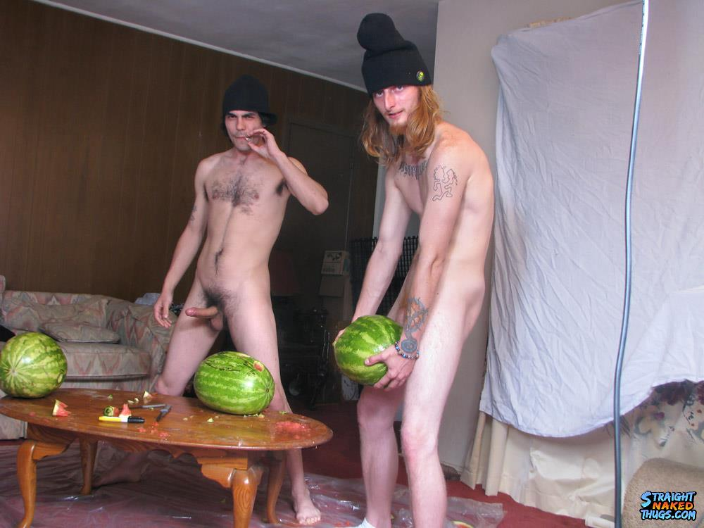 Straight Naked Thugs Devin Reynolds and Blinx and Kenneth Slayer Fucking A Watermelon Amateur Gay Porn 13