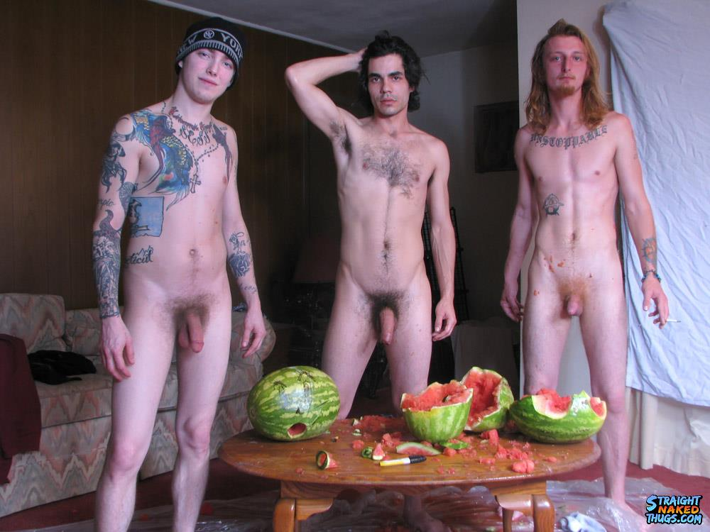 Straight Naked Thugs Devin Reynolds and Blinx and Kenneth Slayer Fucking A Watermelon Amateur Gay Porn 22